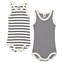 Petit Bateau 2 Pack Vest Bodies Navy and Cream 00
