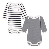 Petit Bateau 2 Pack of Navy and Cream Long Sleeve Bodies 00