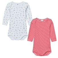 Petit Bateau 2 Pack Baby Body Red Stripe Mouse and Dog Print 00