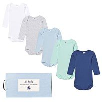 Petit Bateau 5 Pack Multi Color Long Sleeve Baby Body 00