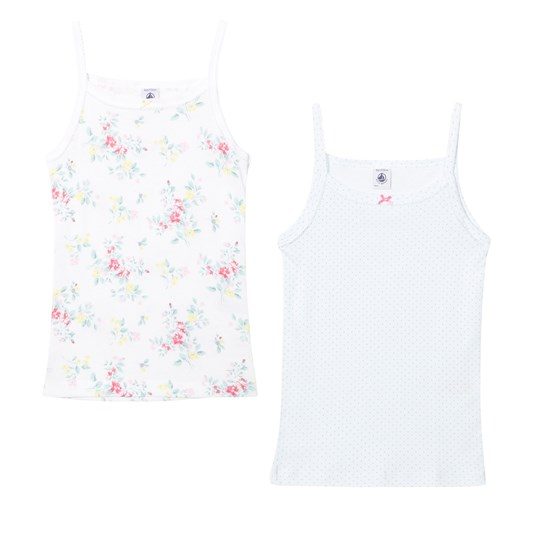 Petit Bateau 2 Pack of Mint Spot and Floral Print Vests 00