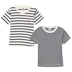 Petit Bateau 2 Pack T-Shirt Navy and Cream Stripe