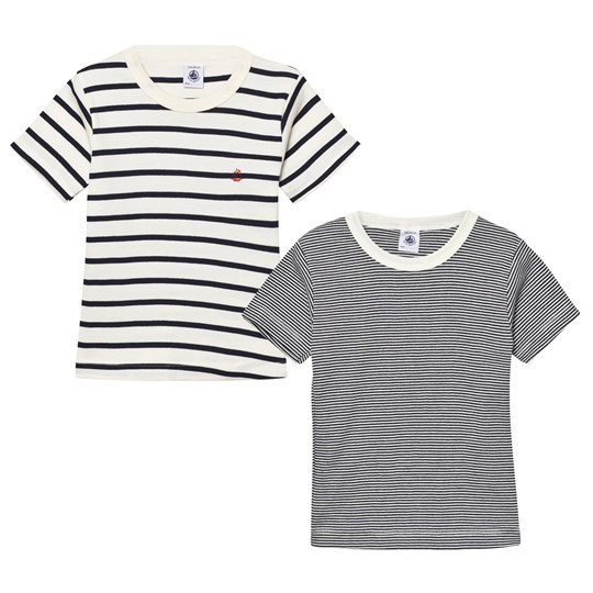 Petit Bateau 2 Pack T-Shirt Navy and Cream Stripe 00