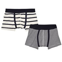 Petit Bateau 2 Pack of Navy and Cream Stripe Trunks 00