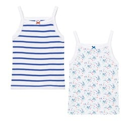 Petit Bateau 2 Pack of White Floral and Stripe Vests