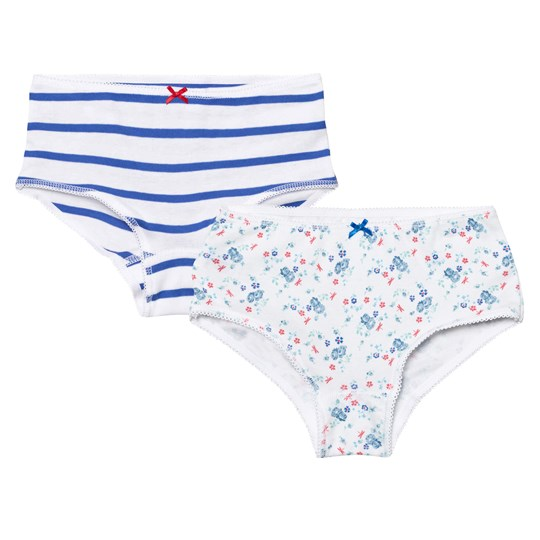 Petit Bateau 2 Pack of White Floral and Stripe Shorties 00