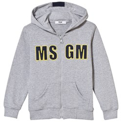 MSGM Grey Branded Hoody with Stripe on Reverse