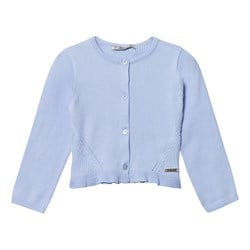Mayoral Blue Knit Frill Rib Cardigan