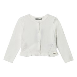 Mayoral Knit Frill Rib Cardigan Cream