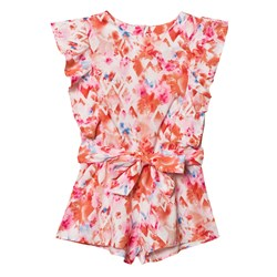 Mayoral Pink Floral Frill Sleeve Playsuit