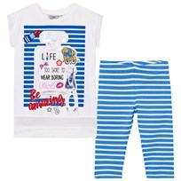 Mayoral Blue Girl and Perfume Print Tunic and Leggings Set 88