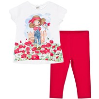 Mayoral White and Red Farmer Tee and Leggings Set 15