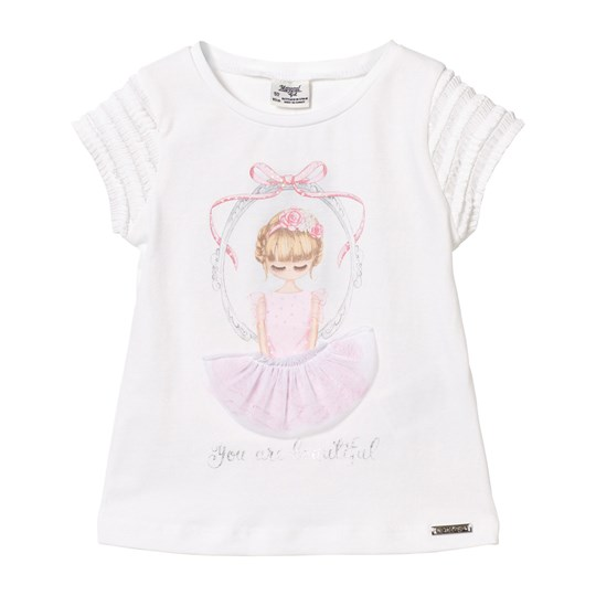 Mayoral Pink Girl in Mirror with Applique Skirt Tee 88