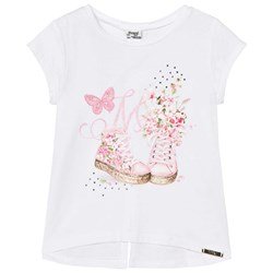 Mayoral White Shoes and Butterfly Applique Tee