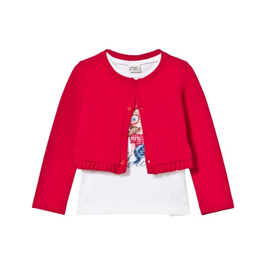 Mayoral Girl Print Vest and Red Knit Frill Cardigan 95