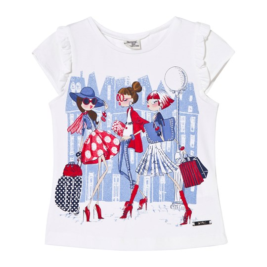 Mayoral White and Blue Fashion Girls Print Tee 51