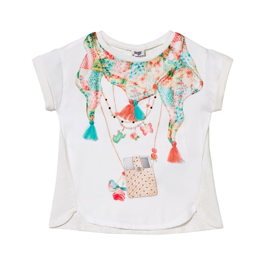 Mayoral White Scarf and Tassel Applique Tee 66