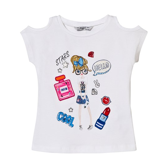 Mayoral White Girl Print and Applique Tee 71