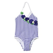 Mayoral Swimsuit Blue Gingham Flower Applique 43