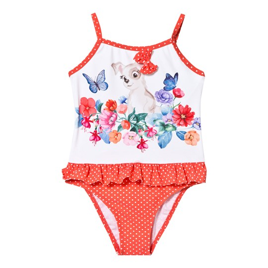 Mayoral Orange Dog and Flower Print Swimsuit 67