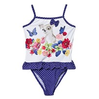 Mayoral Swimsuit Blue Dog and Flower Print Spot with Frill 69