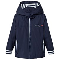Mayoral Navy Stripe Trim Jacket with Detachable Hood 16