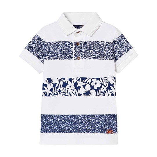 Mayoral White and Navy Floral Stripe Polo 42