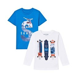 Mayoral Blue and White Skate Print Tee 2-Pack