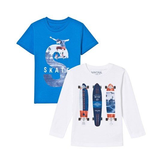 Mayoral Blue and White Skate Print Tee 2-Pack 86