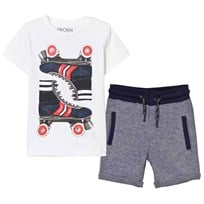 Mayoral White Rollerboot Print Tee and Jersey Shorts Set 40
