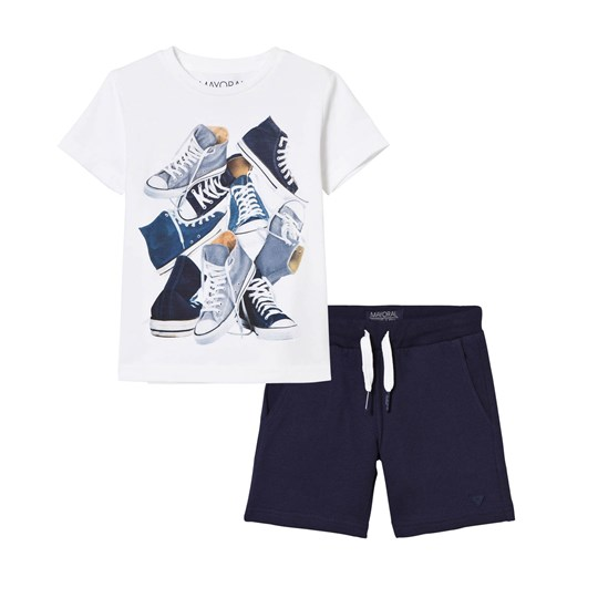 Mayoral White Trainer Print Tee and Jersey Shorts Set 17