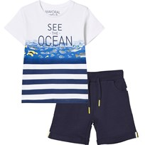 Mayoral White and Navy Tee and Shorts Set 75