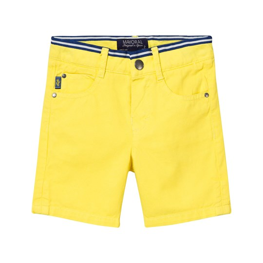 Mayoral Yellow Textured Shorts with Stripe Canvas Belt 78