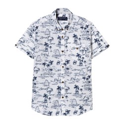 Mayoral White and Navy Tropical Print Shirt and Henley Mock Layer Top