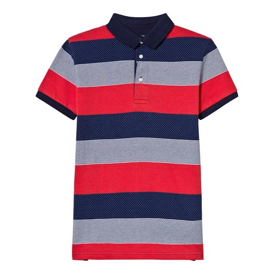 Mayoral Navy and Red Multi Stripe and Spot Polo 35