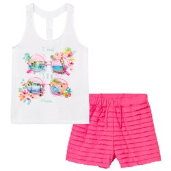 Mayoral White Sunglasses and Diamante Print Top and Ruffle Shorts Set