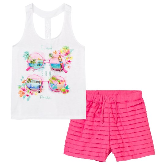 Mayoral White Sunglasses and Diamante Print Top and Ruffle Shorts Set 32