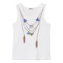Mayoral White Necklace Applique and Embroidered Tee
