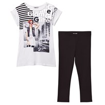 Mayoral Girl and Glitter Print White Tee and Leggings Set 62