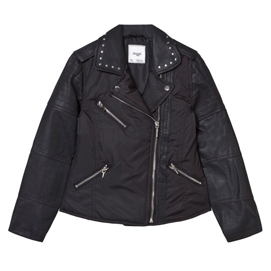 Mayoral Black Pleather and Nylon Biker Studded Jacket 32