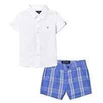 Mayoral White Shirt and Blue Check Shorts Set 61