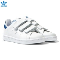 Adidas Originals White and Blue Kids Stan Smith Trainers FTWR WHITE