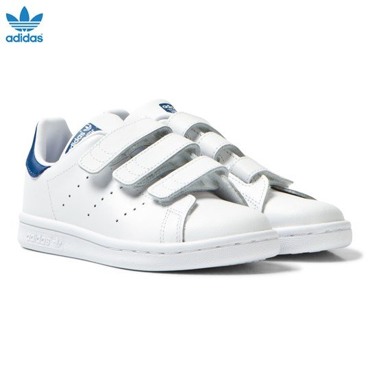 adidas Originals Kids Stan Smith Trainers White and Blue FTWR WHITE