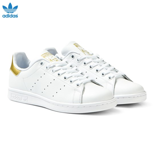 adidas Originals White and Gold Junior Stan Smith Trainers FTWR WHITE