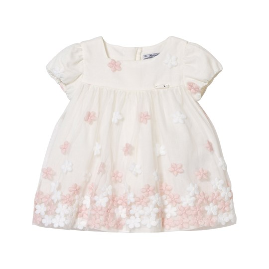 Mayoral White and Pink Floral Embroidered Tulle Dress 40