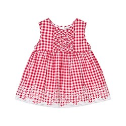 Mayoral Red Gingham Print and Lace Detail Dress