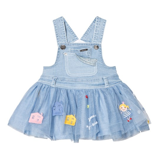 Mayoral Blue Denim and Tulle Badge Dress 68