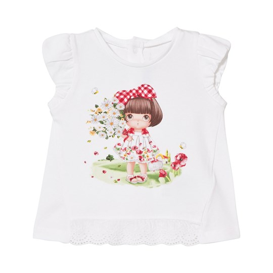Mayoral Daisy and Girl Print Tee in White 18