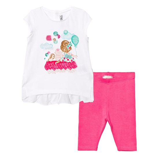 Mayoral White Girl and Puppy Print Tee and Pink Leggings Set 38