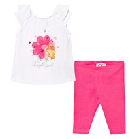 Mayoral White Tee and Leggings Set Flower Girl Print and Applique 92